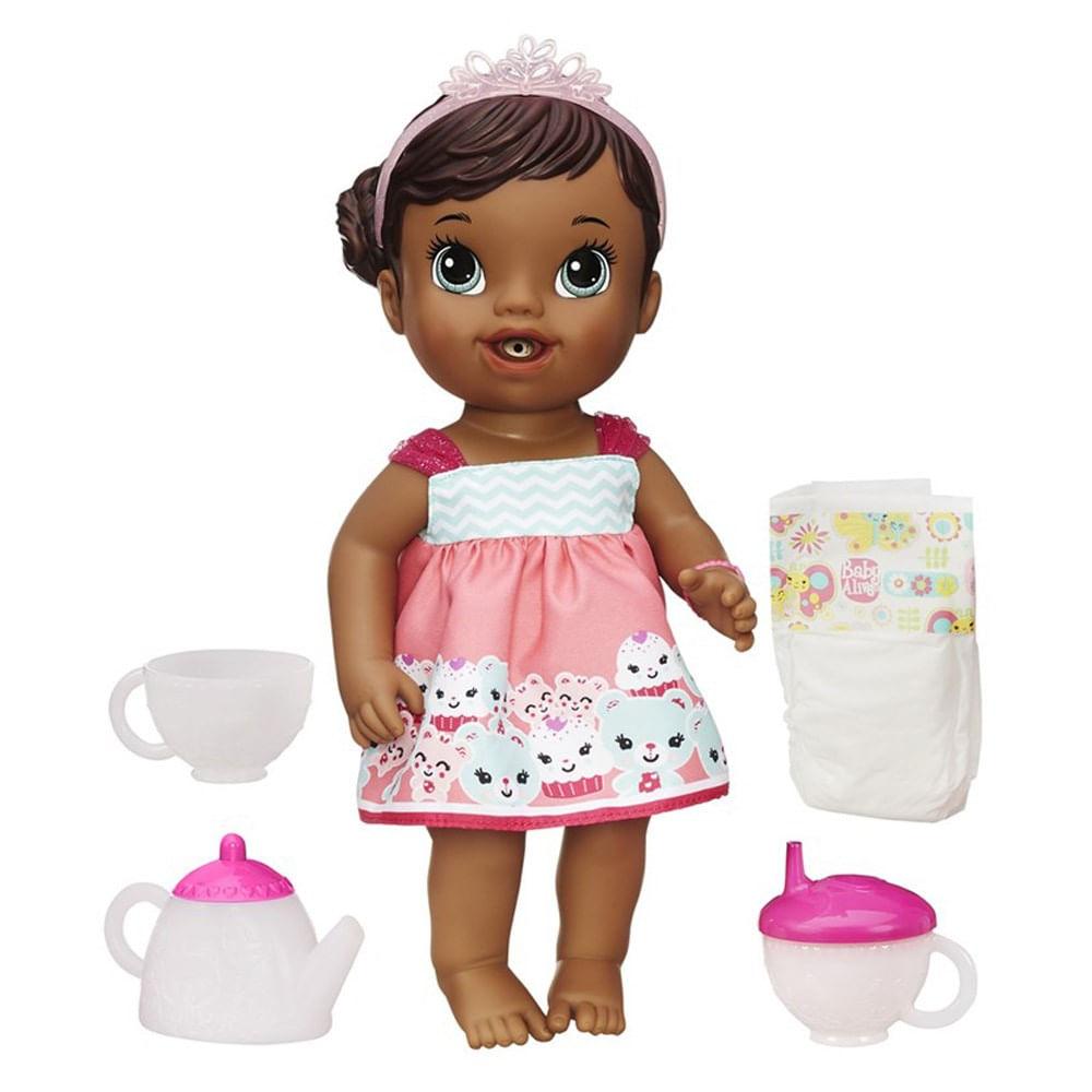 Boneca Baby Alive Hora Do Ch 225 Negra Mp Brinquedos