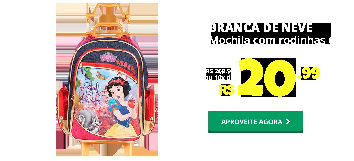 NATAL - MOCHILA COM RODINHAS G - BRANCA DE NEVE DERMIWIL