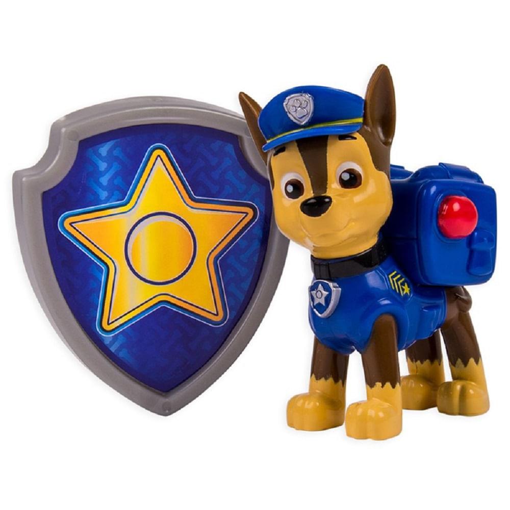 Boneco Patrulha Canina C Distintivo Chase Azul Mp Brinquedos