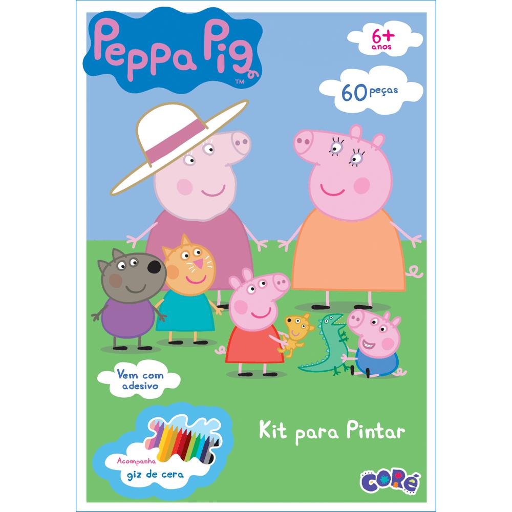 Quebra Cabeca Peppa Pig Para Pintar 60 Pecas Adesivos Mp