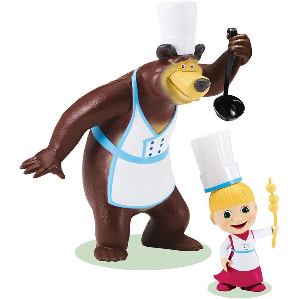 Masha E O Urso Pack Com 2 Figuras Chef De Cozinha Mp