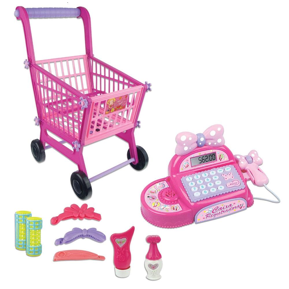 49de28696e Mini Mercado com Carrinho de Compras e Caixa Registradora Rosa ...