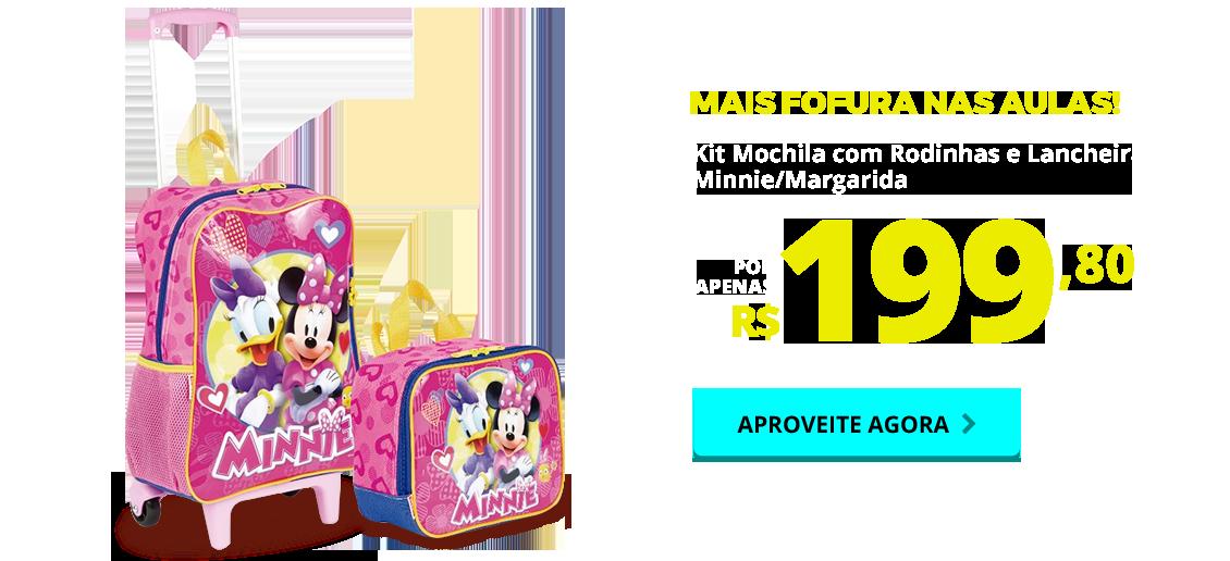 Carnaval - kit mochila com rodinhas & lancheira minnie/margarida - sestini