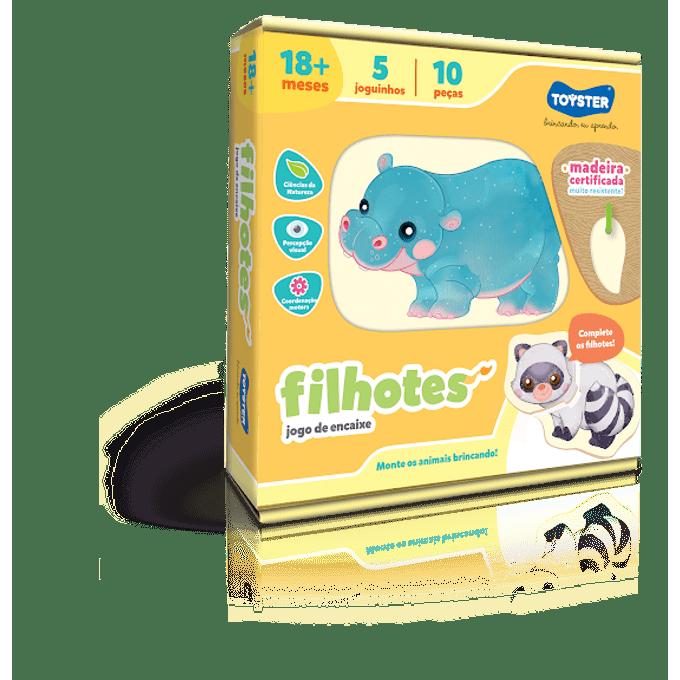 Jogo de Encaixe Madeira - Filhotes - Toyster - TOYSTER